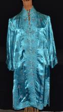 Vintage Aqua Oriental Silk Long Jacket