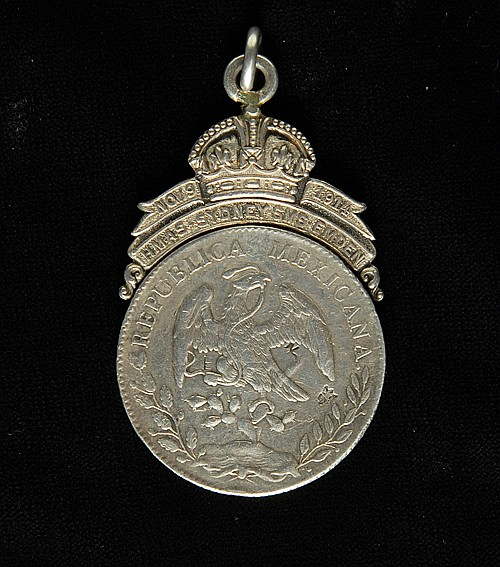 A Scarce Original H.M.A.S. Sydney, S.M.S. Emden Medal, Mexican Silver Dollar, 63mm, surmounted with a crown and integral...