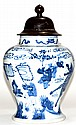 Chinese Kangxi Blue White Porcelain Covered Jar