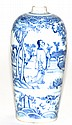 Chinese 18th cen Blue White Porcelain Vase