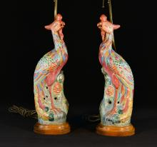 Pair of Chinese Famille Rose Porcelain Pheonix