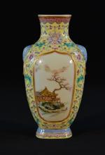 Chinese Famille Rose Porcelain Vase with Pavillion Scene