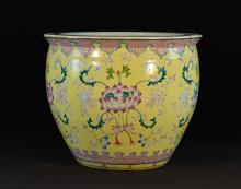 Chinese Yellow Famille Rose Porcelain Fish Bowl