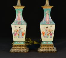 Pair Chinese Porcelain Square Vase Lamp