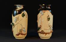 Pair Japanese Sumidagawa Porcelain Vase by Innoe Roysai