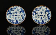 Pair Chinese Blue White Porcelain Dishes - Pheonix