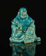 Chinese Peacock Blue Glazed Export Porcelain Hotei