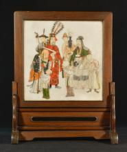 Chinese Painted Marble Scholar Table Screen