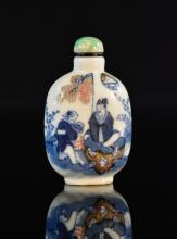 Chinese Blue White Porcelain Snuff Bottle with Boy Scene