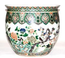 Chinese Famille Verte Porcelain Fishbowl