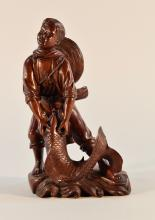 Chinese Carved Wood Culture Revolution Boy with Carp
