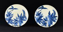 Pair Asian Blue White Porcelain Dishes