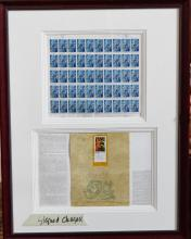 Chagall Signed Stamps in Frame