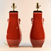 Pair Chinese Oxblood Porcelain Vases Lamp