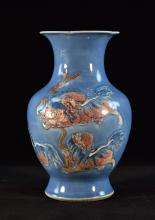 Chinese Blue Porcelain Vase with Copper Red Glazed Foolion