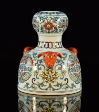 Chinese Doucain Porcelain Vase with Ram Head