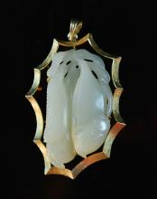 Chinese Jade Carved Jade Pea with Gold Mount