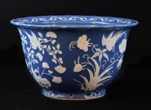 Chinese Blue Glazed Porcelain Planter with White Pastel Floral Bird Deco