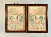 Pair Chinese Porcelain Plaques with Children Playing Scene