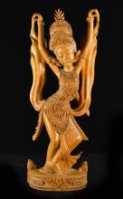 Large Bali Southeast Asia Carved Wood Dancer