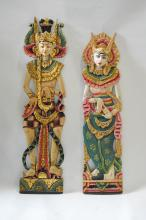 Pair of Bali Southeast Asian Wall Panel of Figurines