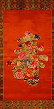 Chinese Embroidery Scroll, Shou Character