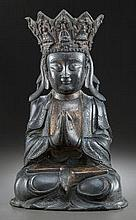 Large Chinese Ming Bronze Seated Buddha