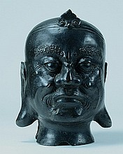 Chinese Bronze Lohan Head