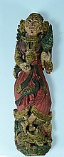 Indian Polychrome Wood Deity