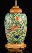Chinese Porcelain Lamp with Wucai Phoenix Scene