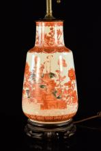 Chinese Porcelain Lamp with Rooster Scene