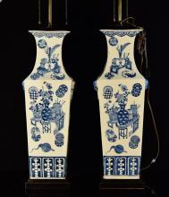 Pair Chinese Blue White Porcelain Vase Lamp