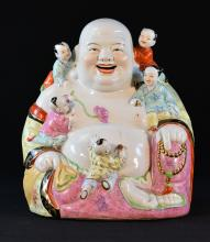 Large Chinese Famille Rose Porcelain Laughing Buddha