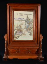 Chinese Famille Rose Porcelain Plaque - Landscape