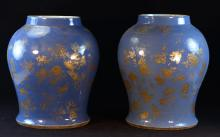 Pair Large Chinese Blue Porcelain Jar with Dragon Scene