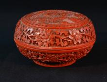 Chinese Cinnebar Lacquer Round Box with Figural Scene