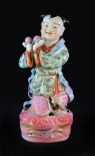 Chinese Famille Rose Porcelain Boy Holding Peach