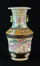 Chinese Famille Rose Porcelain Vase with Warrior Scene