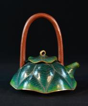 Chinese Cloisonn_ Teapot of Lotus Shape