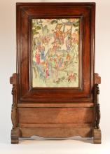 Large Chinese Famille Rose Porcelain Table Screen