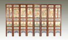 Set of Eight Chinese Famille Rose Porcelain Panel Screen