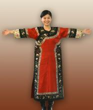 Chinese Red Embroidery Robe with Floral Motif