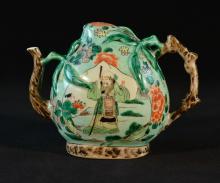 Chinese Famille Verte Porcelain Peach Shaped Teapot