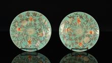 Pair Chinese Turquois Famille Rose Porcelain Dishes