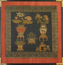 Chinese Framed Fabrics of Floral Basket
