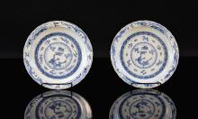 Pair Chinese Blue White Porcelain Dishes with Dragon Motif