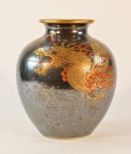 Japanese Studio Porcelain Vase with Silver Dragon Overlay