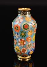 Chinese Cloisonn_ Snuff Bottle with Floral Motif
