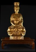 Chinese Wooden Buddha with Gold Lacquer