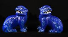 Pair Chinese Blue Glazed Porcelain Buddhist Lion